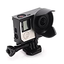 Anti-exposure Frame with Lens Hood for GoPro HERO 3 and GO PRO HERO 3+ Hero 4 Black Silver Cameras With Quick Release Buckle and Thumbscrew (Black)