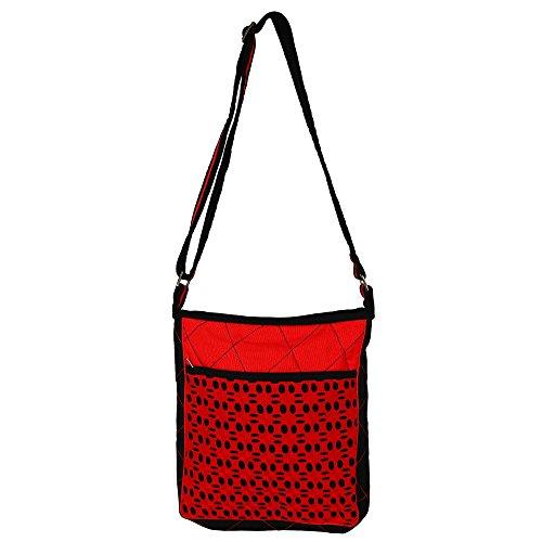 "Cotton Satchel Croce Body Bag Sling - 12 ""x 10"" Carrier borsa & iPad o Tablet"