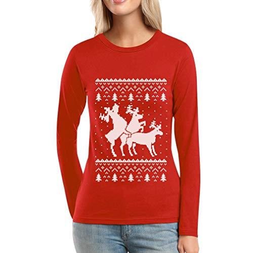 A Sweater Da Maniche Rosso Maglia Christmas Donna Si Lunghe Renne Shirtgeil Ugly Che Montano EvSqZ8