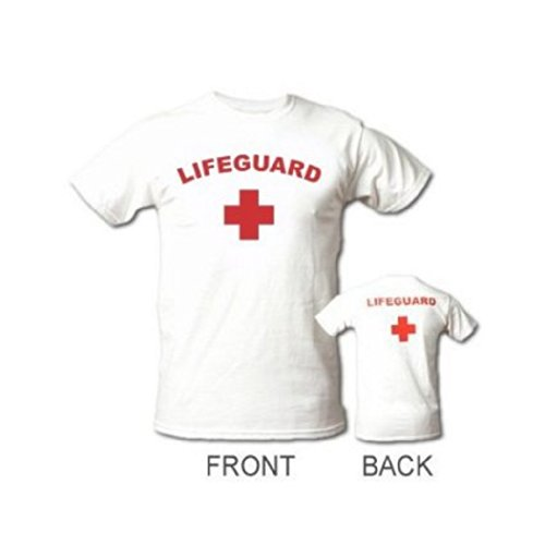 FRONT AND BACK - WHITE - LARGE - LIFEGUARD T-SHIRT -