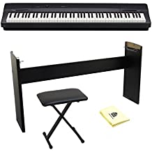 Casio PX160 Black 88 Weighted Keyboard with Keyboard Bench, CS-67 Keyboard Stand and Zorro Sounds Polishing Cloth