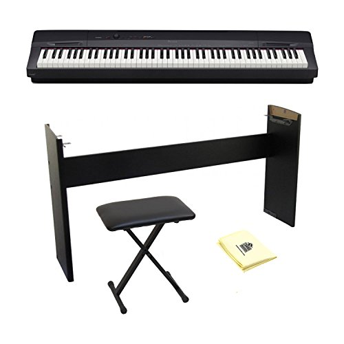 Casio PX-160 Privia Touch Sensitive 88 Key Tri Sensor Scaled Hammer Action Keyboard Digital Piano with 18 Built-In Tones Package with Keyboard Bench, Keyboard Stand and Zorro Sounds Polishing Cloth