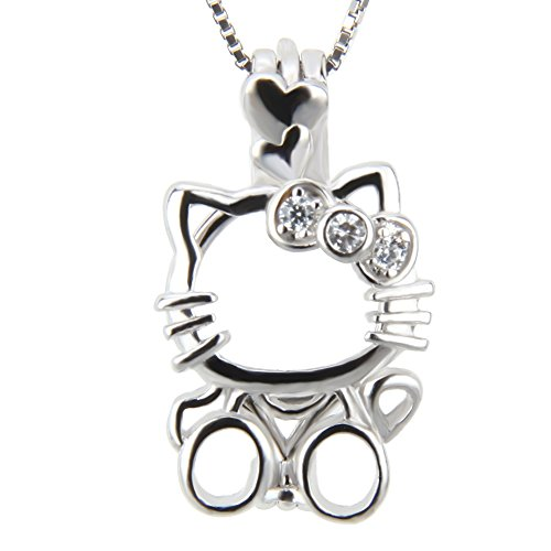 NY Jewelry 925 Sterling Silver Lovely Cat Pendants for Pearl, Design Pearl Cage Pendants for Women and Girls