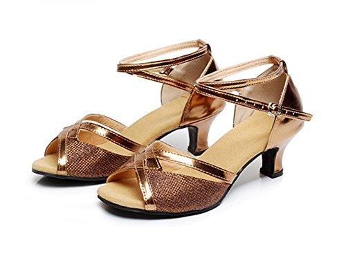 fondo de suave latino baile adulto zapatos de WX de baile XW Zapatillas zapatos cuadrados 34 mujer GB de 40 brown baile de zapatos x4pZ7aq