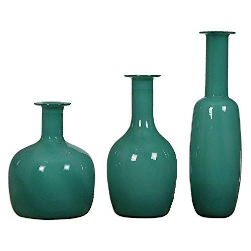 Uttermost Baram 3-Piece Persian Green Glass Vase Set