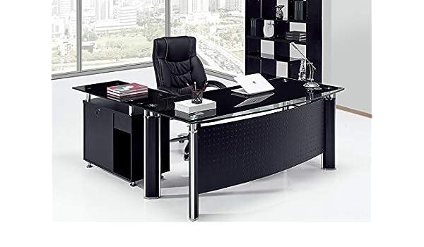 Grupo SDM Mesa Oficina Premium Oval, Mueble a Derecha, Cristal ...