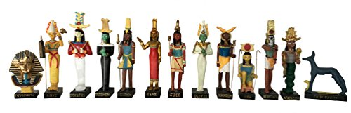 Ancient Egypt Egyptian God 13 Figurines Set Resin Statue Size 5' High (Khnoum, Apademar, Gueb, Osiris, Tatenen, Heh, Anat, Tutenchamon, Isis, Oupouaout, Sokaris, Nefertoum, Monthou) [Amercom EG-3]