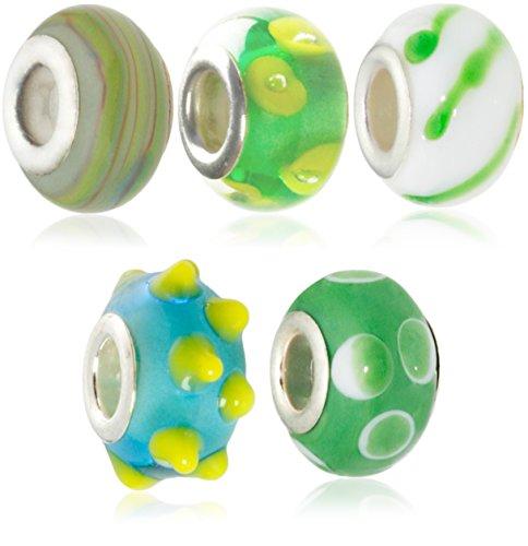 Hidden Gems - Plaqué argent à double Perles de verre de base Ensemble de 5