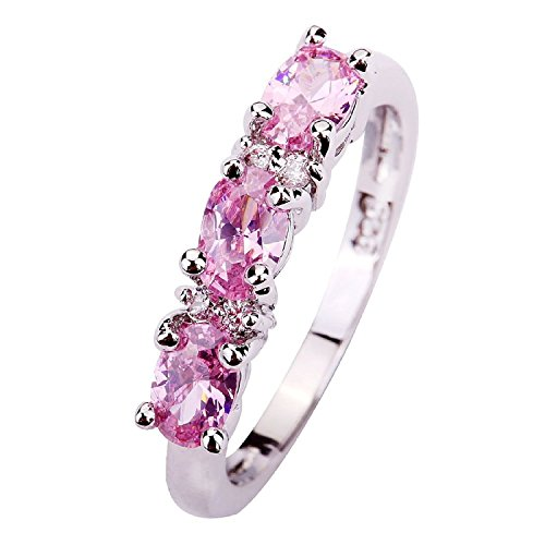 Psiroy Womens 925 Sterling Silver 1.5cttw Pink Topaz Half Eternity Filled Ring