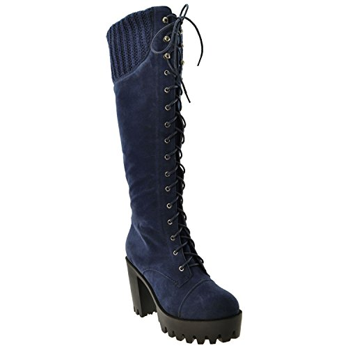 Generation Y Womens Knee High Boots Knitted Cuffs Lace Up Combat Platform Chunky High Heel GY-WB-433