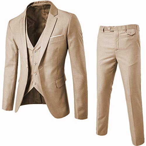 - WULFUL Men's Suit Slim Fit One Button 3-Piece Suit Blazer Dress Business Wedding Party Jacket Vest & Pants (Light Brown, Large)