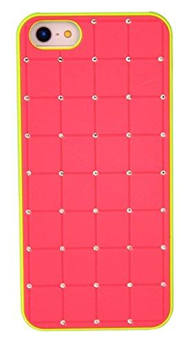 Qualité Iphone 5 / 5s Rouge Case Hard Cover CRISTAL DE LUXE Croix Bling de diamant avec cadre vert pour Apple iPhone 5 / 5S