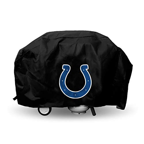 JA 68 X 35 X 21 Inches NFL Colts Grill Cover, Football Themed Weather Resistant Vinyl Gas Barbeque Smoker Protector, Team Logo Fan Merchandise Athletic Team Spirit Fan, Blue White ()