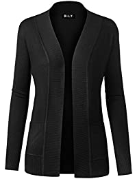 BILY Women Open Front Long Sleeve Classic Knit Cardigan