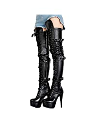 leather boots Female Boots Women Boots 14.5cm high-heeled over the knee boots plus size xd340