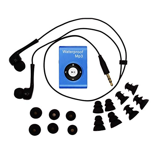 MIUSUK Waterproof MP3 Player Built-in 8GB Swimming Diving Sports with Waterproof Headphones Players Support FM Radio and Shuffle Feature Perfect Swimming Companion (Blue)