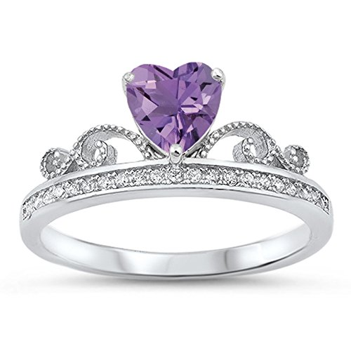 925 Sterling Silver Heart Faceted Natural Genuine Purple Amethyst Tiara Crown Ring Size 6