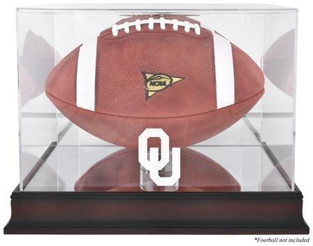 Oklahoma Sooners Mahogany Logo Football Display Case