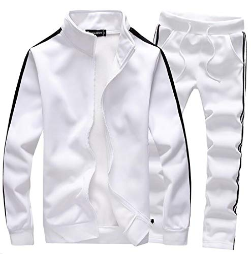 ouxiuli Mens Tracksuit Long Sleeve Full-Zip Running Jogging Sports Jacket and Pants Set White S