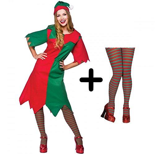 LADIES WOMENS CHRISTMAS XMAS TIGHTS ELF SANTA FANCY DRESS COSTUME STRIPE