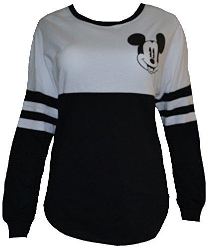 Disney Women's Juniors Mickey Mouse Stripe Long Sleeve Sweatshirt Black/White (Medium) (Disney Adult Outfits)