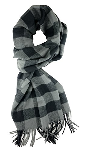 Plum Feathers Plaid Check and Solid Cashmere Feel Winter Scarf (Black-Grey Buffalo Check)