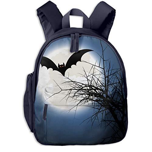 Halloween Bat Background Double Zipper Waterproof Children Schoolbag With Front Pockets For Kids Boys Girls
