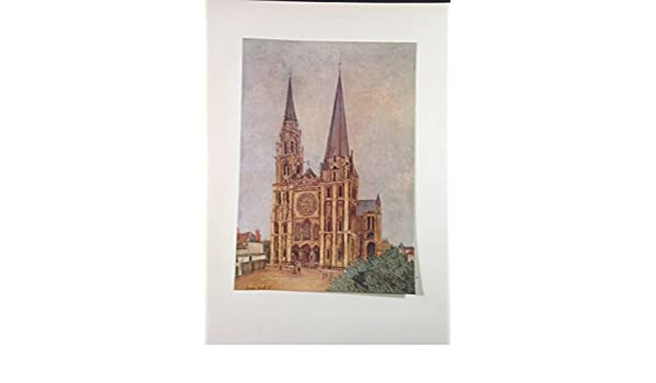"""1953 Vintage Full Color Art Plate /""""CHARTRES CATHEDRAL/"""" UTRILLO PARIS Lithograph"""