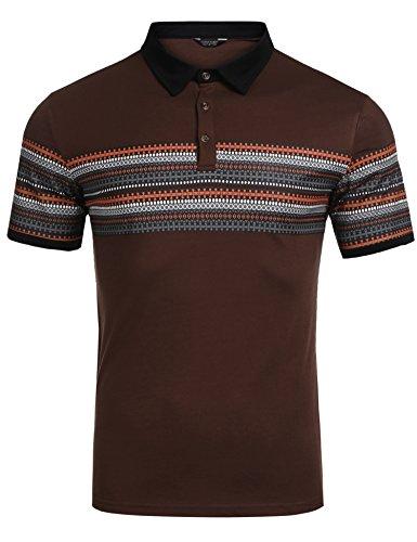 Three Button Uniform - COOFANDY Men Polo Shirt 3-Button Short Sleeve Uniform Geometric Print Retro Polo