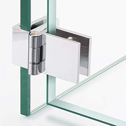 Alise 2-Pack 90° Double Side Glass Doors Hinge Cupboard Showcase Wine Cabinet Clamp Ambry Gate Hinges Replacement Parts,BLJ002-2P Polished Chrome