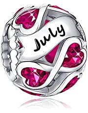 Birthstone Charms 925 Sterling Silver Infinite Love Heart Openwork Bead for Charm Bracelets and Necklaces with 5A Cubic Zirconia, Birthday Jewelry Gifts Women Girls