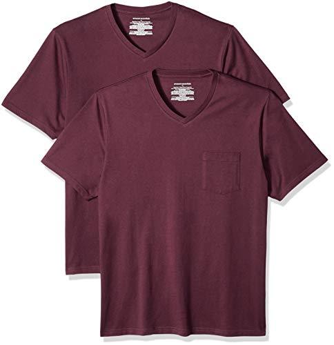 Amazon Essentials Men's 2-Pack Loose-fit V-Neck Pocket T-Shirt, Burgundy, X-Large