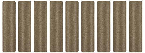 Stair Treads Collection Indoor Skid Slip Resistant Carpet Stair Tread Treads (Beige, Set of 9 (8 in x 30 in))