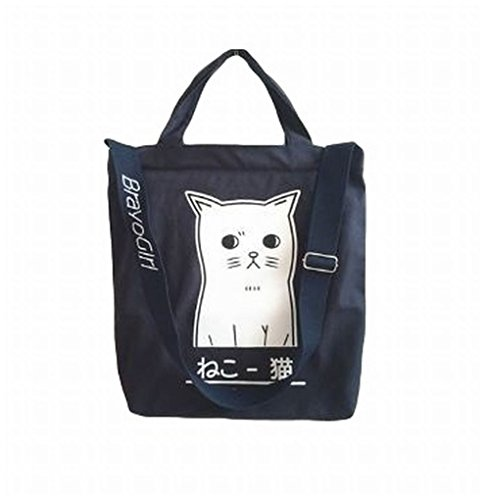 POJ Harajuku Fashion Style Canvas Shoulder Bag Cat Pattern [ Color Black / Pink / Navy Blue ] Japan Cosplay (Navy (2)