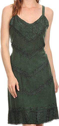 Sakkas 161114 - Rhyder Mid Strapless Spaghetti Strap Adjustable Embroidered Batik Dress - Green - -