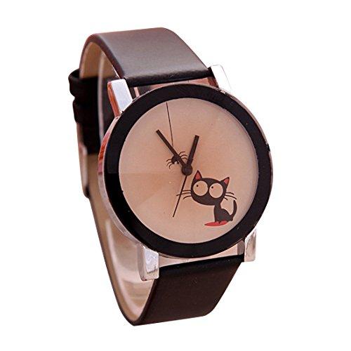 Cute Cat Pattern Watch Cartoon Casual Women Watch(Black) (Casual Cartoon Pattern)