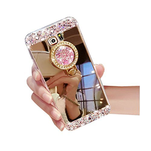 Galaxy Note 4 Luxury Rhinestone Makeup Case,Auroralove Samsung Galaxy Note 4 Handmade Bling Diamond Soft TPU Mirror Glass Case for Girls Women with Detachable Ring Stand-Gold (Bling Bumper Case For Note 4)