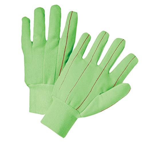 Mill Hot Knit (West Chester Large Green Medium Weight Cotton Hot Mill Gloves With Knit Wrist - 144 Pair/Case)