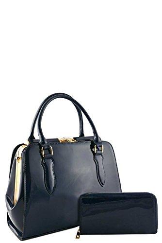 womens-designer-faux-leather-2-in-1-patent-doctor-bag-set-va2018-navy