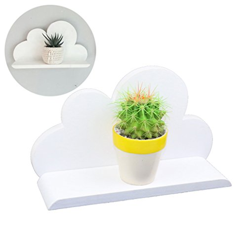 lieomo Handmade Home Decor – Wooden White Cloud Shelves Display Storage Shelf Children Living Room Wall Decor Gift