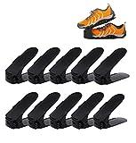 koobea 10 Pieces Shoe Slot Plastic Adjustable Space Saver Shoe Rack Organizer-Black