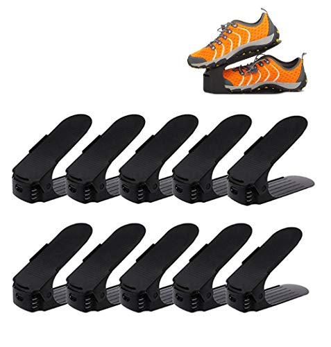 koobea 10 Pieces Shoe Slot Plastic Adjustable Space Saver Shoe Rack Organizer-Black by koobea