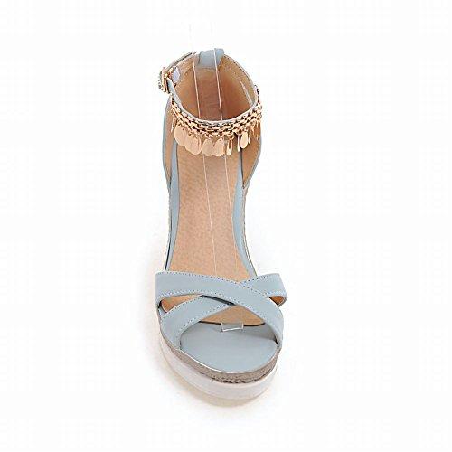 Ciondolo Zeppa Donna Elegante In Metallo Con Zeppa Con Zeppa E Sandali Blu