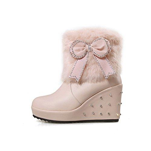 AdeeSu Girls Spun Gold Bowknot Rivet Fur Collar Imitated Leather Boots Pink uTPdtveav