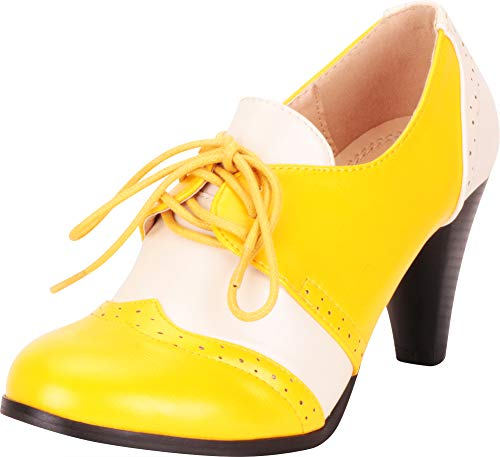 Cambridge Select Women's Retro Pinup Vintage Inspired Lace-Up Chunky Heel Wingtip Oxford,8.5 B(M) US,Yellow/White PU