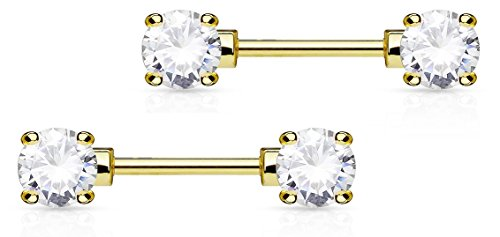 14g 1/2 Inch (12mm) 14k Gold Plated Clear CZ Crystal Front Facing Gemmed Nipple Ring Barbell Set