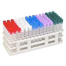 90 Tube - 13x100mm Clear Plastic Test Tube Set with Caps and Rack - Karter Scientific 207D3