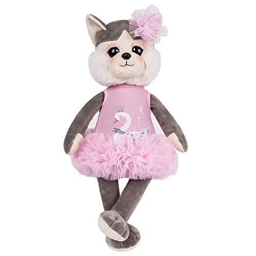 sky Dog Dressed in Lovely Cloth Grey Dog Plush Toy Doll, 16 inch ()