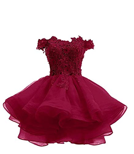 ANGELA Women#039s Off The Shoulder Organza Short Prom Homecoming Dresses Burgundy 6
