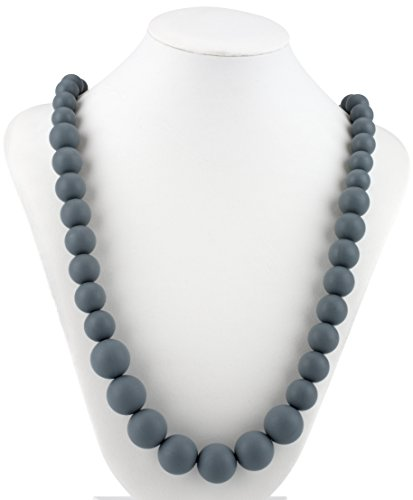 Nuby Teething Trends Round Beads Teething Necklace - Gray